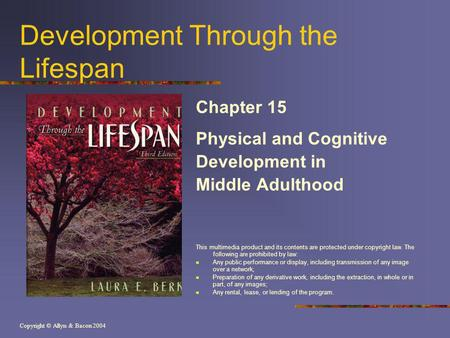 Copyright © Allyn & Bacon 2004 Development Through the Lifespan Chapter 15 Physical and Cognitive Development in Middle Adulthood This multimedia product.