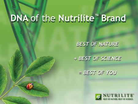 DNA of the Nutrilite™ Brand DNA of the Nutrilite™ Brand
