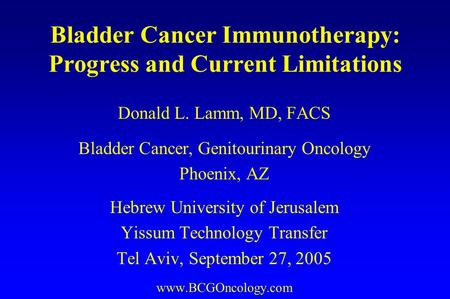 Bladder Cancer Immunotherapy: Progress and Current Limitations