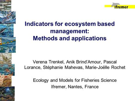 Indicators for ecosystem based management: Methods and applications Verena Trenkel, Anik BrindAmour, Pascal Lorance, Stéphanie Mahevas, Marie-Joëlle Rochet.