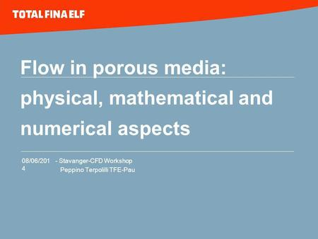 08/06/2014 - Stavanger-CFD Workshop Peppino Terpolilli TFE-Pau Flow in porous media: physical, mathematical and numerical aspects.