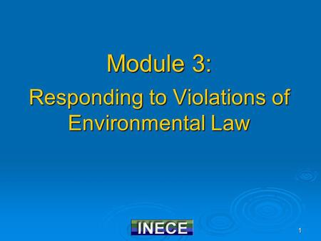 1 Module 3: Responding to Violations of Environmental Law.
