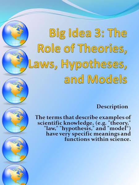 Description The terms that describe examples of scientific knowledge, (e.g. theory, law, hypothesis, and model) have very specific meanings and.