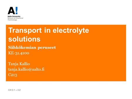 Transport in electrolyte solutions