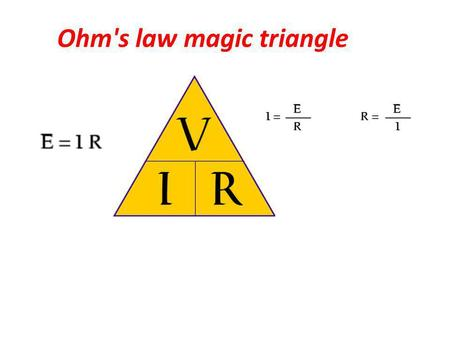 Ohm's law magic triangle. Ohms law, defines the relationship between voltage, current and resistance. These basic electrical units apply to direct current,