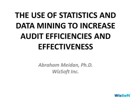 THE USE OF STATISTICS AND DATA MINING TO INCREASE AUDIT EFFICIENCIES AND EFFECTIVENESS Abraham Meidan, Ph.D. WizSoft Inc.