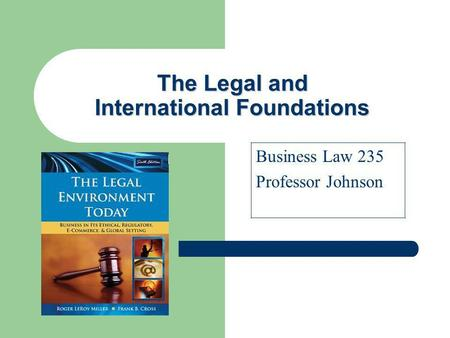 The Legal and International Foundations Business Law 235 Professor Johnson.