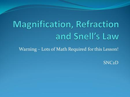 Magnification, Refraction and Snell's Law