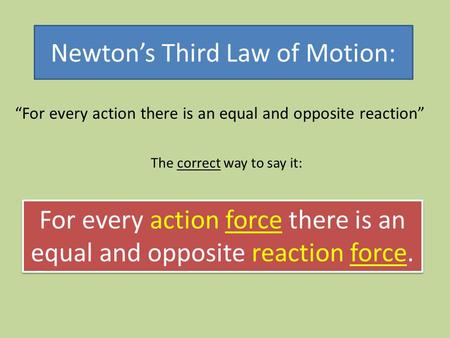 Newton's Third Law of Motion: