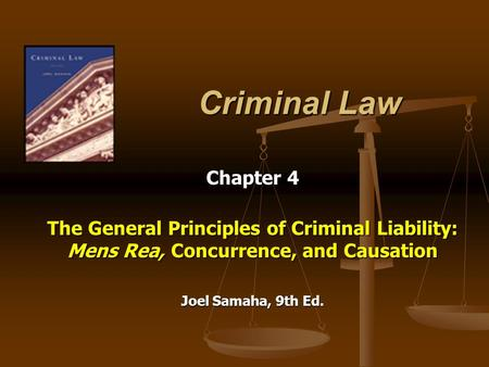 Criminal Law Chapter 4 The General Principles of Criminal Liability: Mens Rea, Concurrence, and Causation Joel Samaha, 9th Ed.