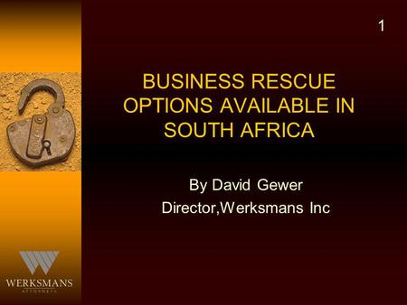 BUSINESS RESCUE OPTIONS AVAILABLE IN SOUTH AFRICA By David Gewer Director,Werksmans Inc 1.