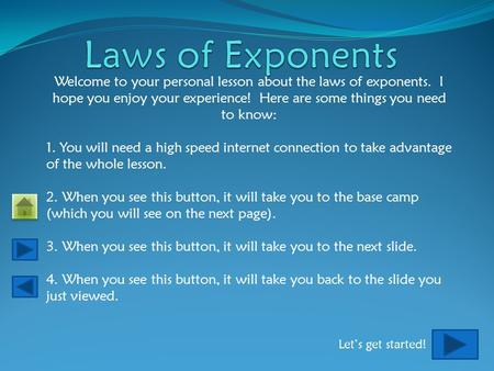 Welcome to your personal lesson about the laws of exponents. I hope you enjoy your experience! Here are some things you need to know: 1. You will need.