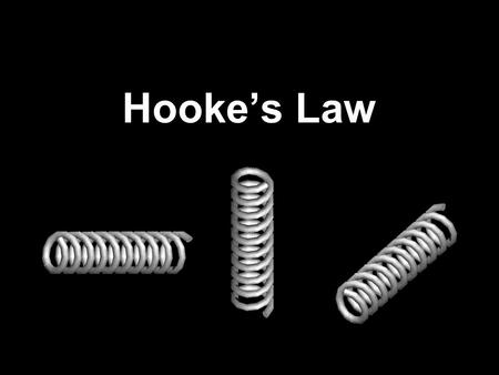 Hookes Law. The force exerted on an object (F) is proportional to the amount of stretch or compression (x) and the spring constant (k) F = Newtons x =