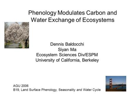 Phenology Modulates Carbon and Water Exchange of Ecosystems Dennis Baldocchi Siyan Ma Ecosystem Sciences Div/ESPM University of California, Berkeley AGU.