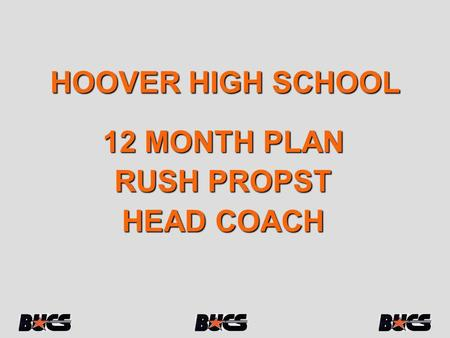 HOOVER HIGH SCHOOL 12 MONTH PLAN RUSH PROPST HEAD COACH.