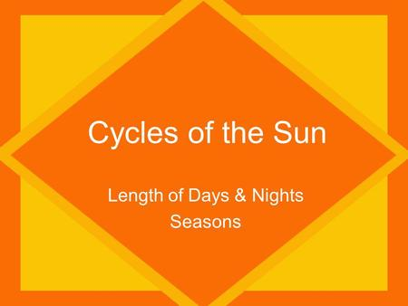 Cycles of the Sun Length of Days & Nights Seasons.