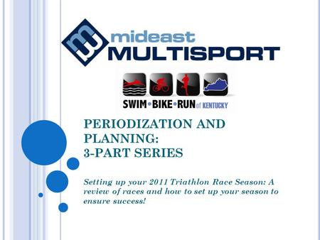 PERIODIZATION AND PLANNING: 3-PART SERIES Setting up your 2011 Triathlon Race Season: A review of races and how to set up your season to ensure success!
