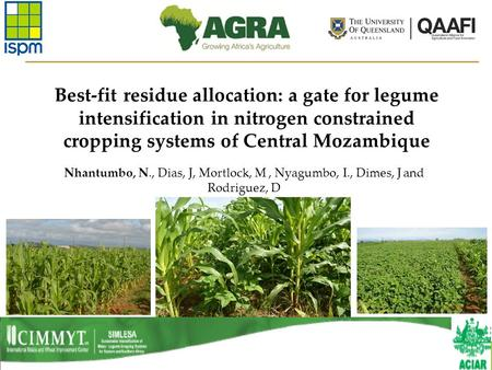 Best-fit residue allocation: a gate for legume intensification in nitrogen constrained cropping systems of Central Mozambique Nhantumbo, N., Dias, J, Mortlock,