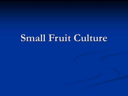 Small Fruit Culture.