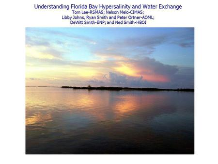 Understanding Florida Bay Hypersalinity and Water Exchange Tom Lee-RSMAS; Nelson Melo-CIMAS; Libby Johns, Ryan Smith and Peter Ortner-AOML; DeWitt Smith-ENP;