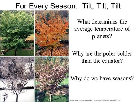 For Every Season: Tilt, Tilt, Tilt