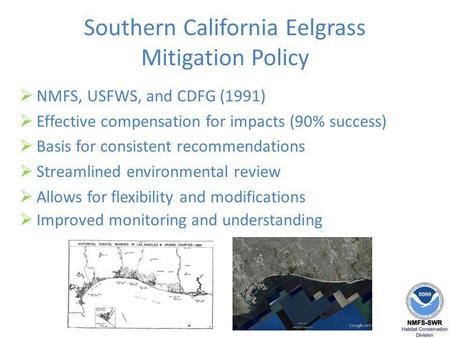 Southern California Eelgrass Mitigation Policy NMFS, USFWS, and CDFG (1991) Effective compensation for impacts (90% success) Basis for consistent recommendations.