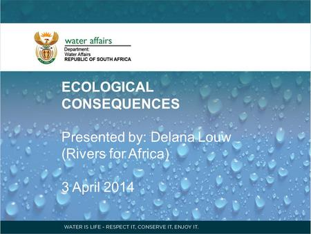 ECOLOGICAL CONSEQUENCES Presented by: Delana Louw (Rivers for Africa) 3 April 2014.