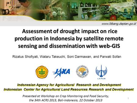 1 www.litbang.deptan.go.id Indonesian Agency for Agricultural Research and Development Indonesian Center for Agricultural Land Resources Research and Development.