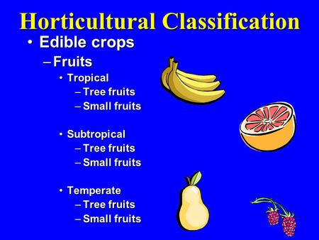 Horticultural Classification Edible cropsEdible crops –Fruits TropicalTropical –Tree fruits –Small fruits SubtropicalSubtropical –Tree fruits –Small fruits.