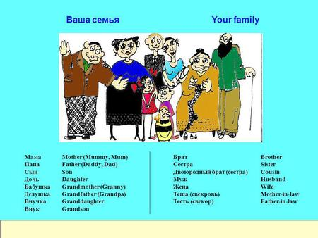 Ваша семья Your family Mother (Mummy, Mum) Father (Daddy, Dad) Son Daughter Grandmother (Granny) Grandfather (Grandpa) Granddaughter Grandson Мама Папа.