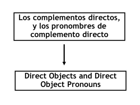 Los complementos directos, y los pronombres de complemento directo Direct Objects and Direct Object Pronouns.