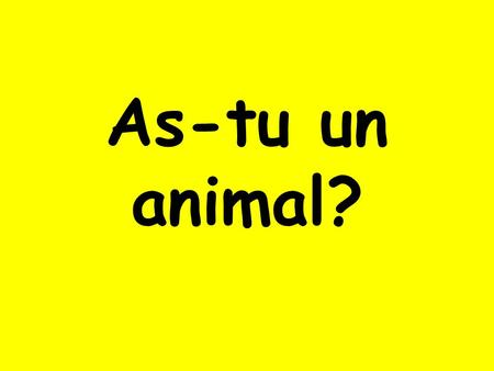 As-tu un animal?. Oui, jai… un poisson un chien.