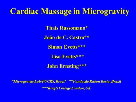 Cardiac Massage in Microgravity