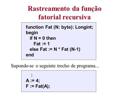 Rastreamento da função fatorial recursiva function Fat (N: byte): Longint; begin if N = 0 then Fat := 1 else Fat := N * Fat (N-1) end Supondo-se o seguinte.