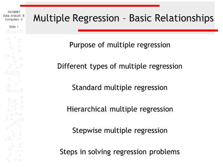 Multiple Regression – Basic Relationships