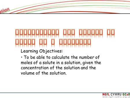 Calculating the Number of Moles in a Solution