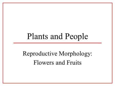 Plants and People Reproductive Morphology: Flowers and Fruits.