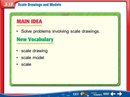 Main Idea/Vocabulary scale drawing scale model scale Solve problems involving scale drawings.