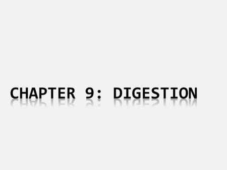 Chapter 9: digestion.