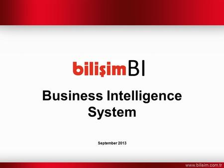 Www.bilisim.com.tr Business Intelligence System September 2013 BI.