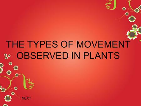 THE TYPES OF MOVEMENT OBSERVED IN PLANTS NEXT A directional growth movement made by a part of a stationary plant response to unilateral stimulus. The.