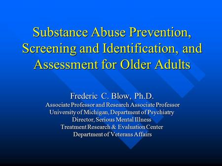 an assessment of the substance abuse prevention community We provide substance abuse assessments to individuals who may need to assess whether they have a substance abuse problem if an individual is determined through an assessment that they need additional substance abuse treatment, community prevention services will refer them to a qualified substance abuse treatment provider.