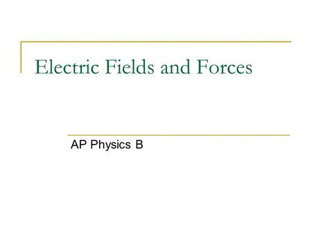 "Electric Fields and Forces AP Physics B. Electric Charge ""Charge"" is a property of subatomic particles. Facts about charge: There are 2 types basically,"