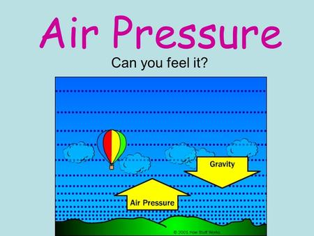 Air Pressure Can you feel it?. Air Pressure Air pressure is the measure of the force with which air molecules push on a surface. Air Pressure is GREATEST.