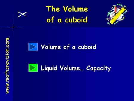 Www.mathsrevision.com Volume of a cuboid Liquid Volume… Capacity The Volume of a cuboid.