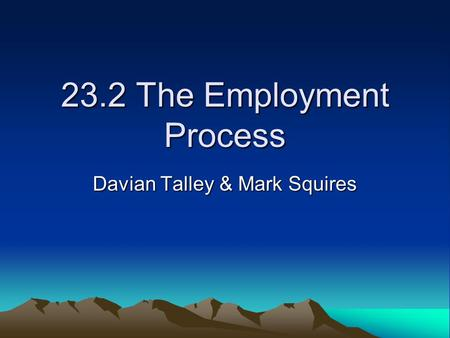 23.2 The Employment Process Davian Talley & Mark Squires.