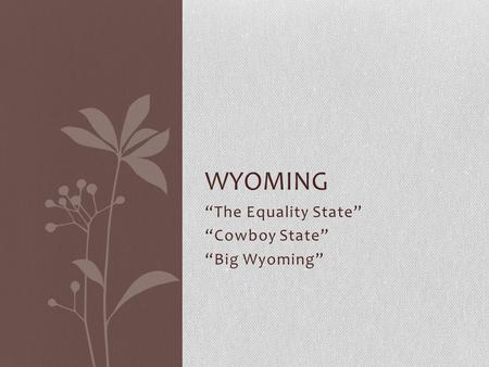 """The Equality State"" ""Cowboy State"" ""Big Wyoming"""