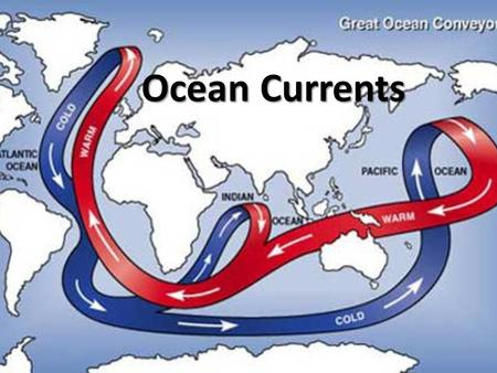 Ocean Currents. Huge Rivers in the Ocean Ocean currents are huge rivers flowing within the ocean. Each current has its own temperature and its own saltiness.