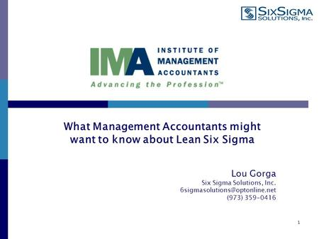 Lou Gorga Six Sigma Solutions, Inc. (973) 359-0416 1 What Management Accountants might want to know about Lean Six Sigma.