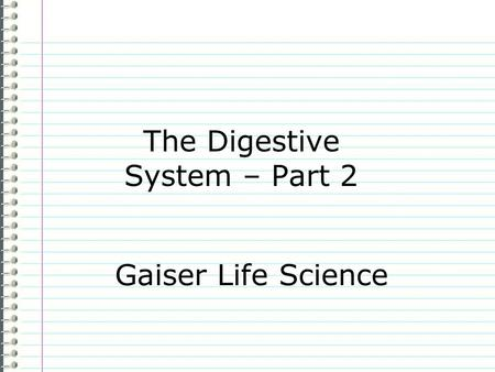 The Digestive System – Part 2 Gaiser Life Science.